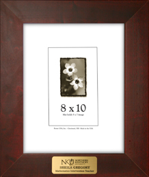 picture frame with engraved plate