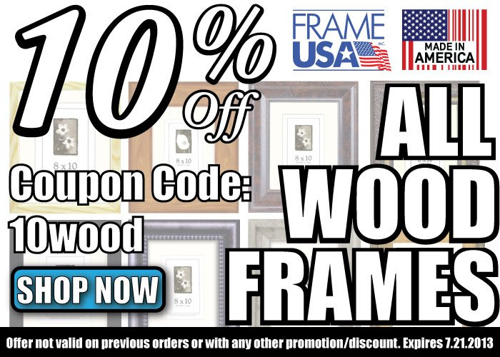 10% Off Sale on All Wood Picture Frames!