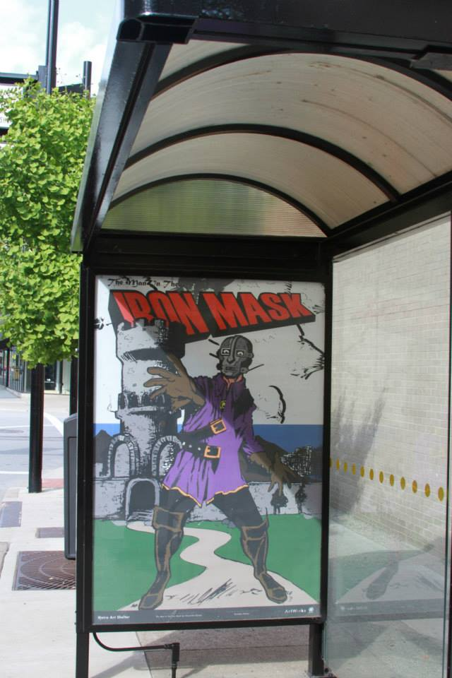 Man in the Iron Mask - Cincinnati METRO Bus Shelter Art Project