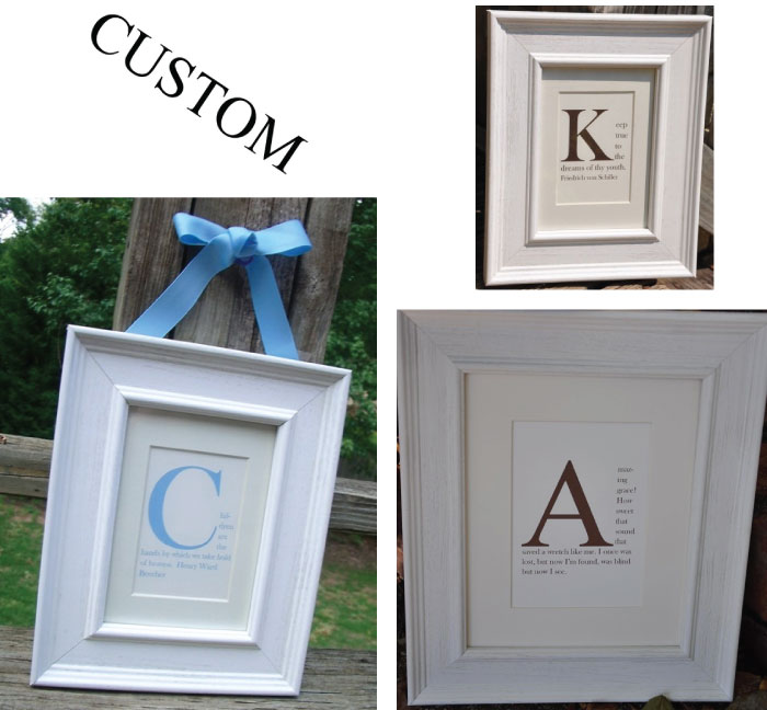 Shop Owner Mary Ellen uses our White Driftwood frames to create her simple, yet elegany Monogram framed prints!