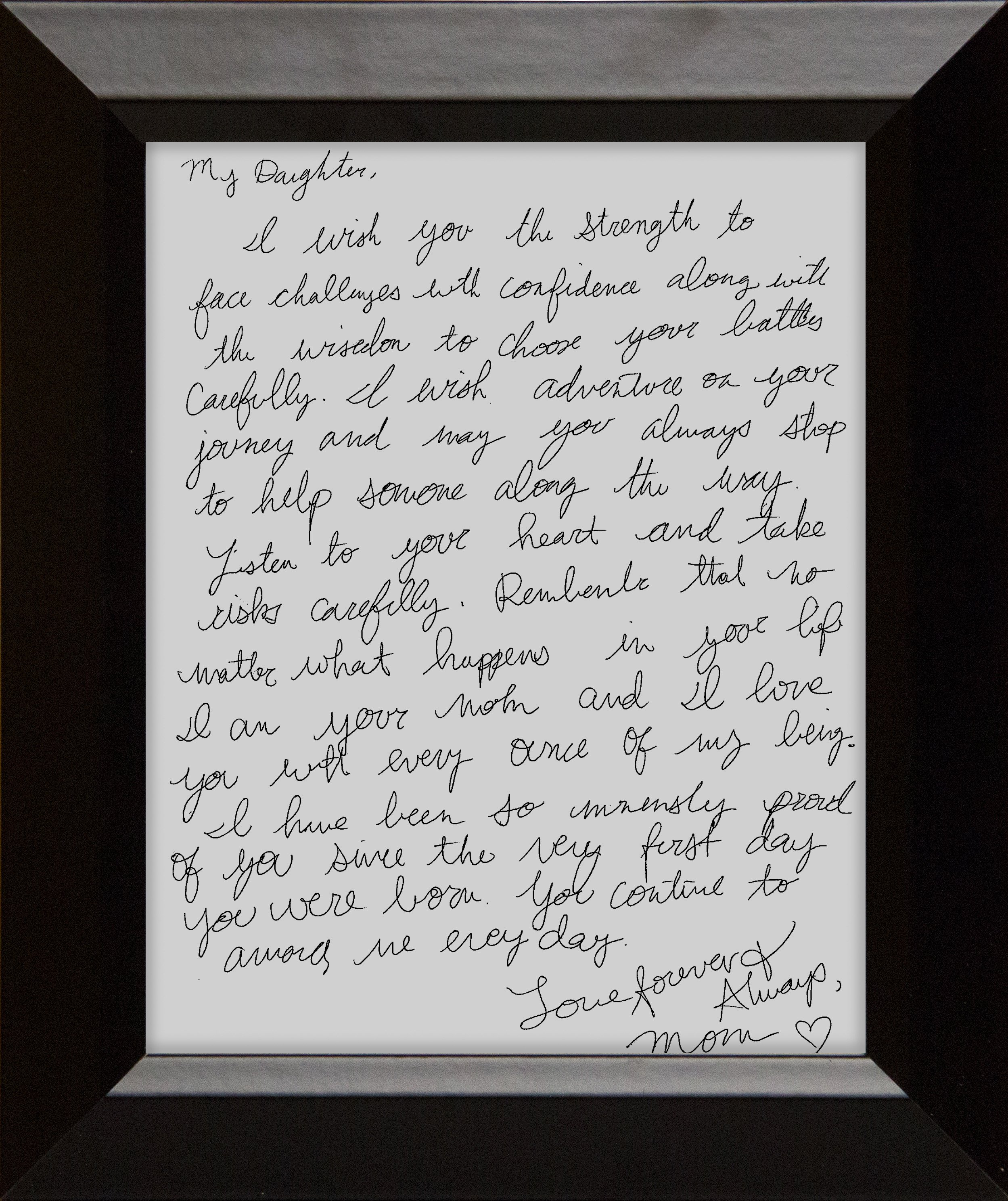 Framed Family Letter