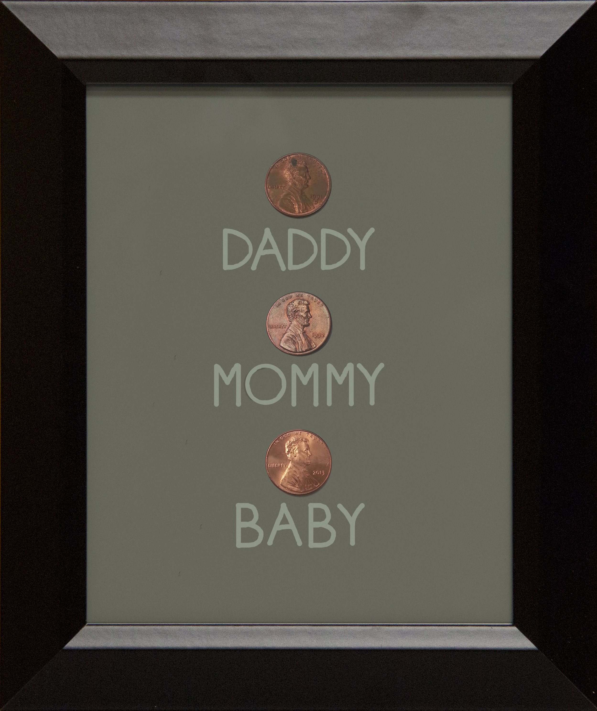Framed birthyear pennies