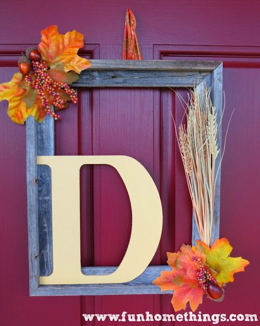 Upcycled Picture Frame  Fall Wreathe