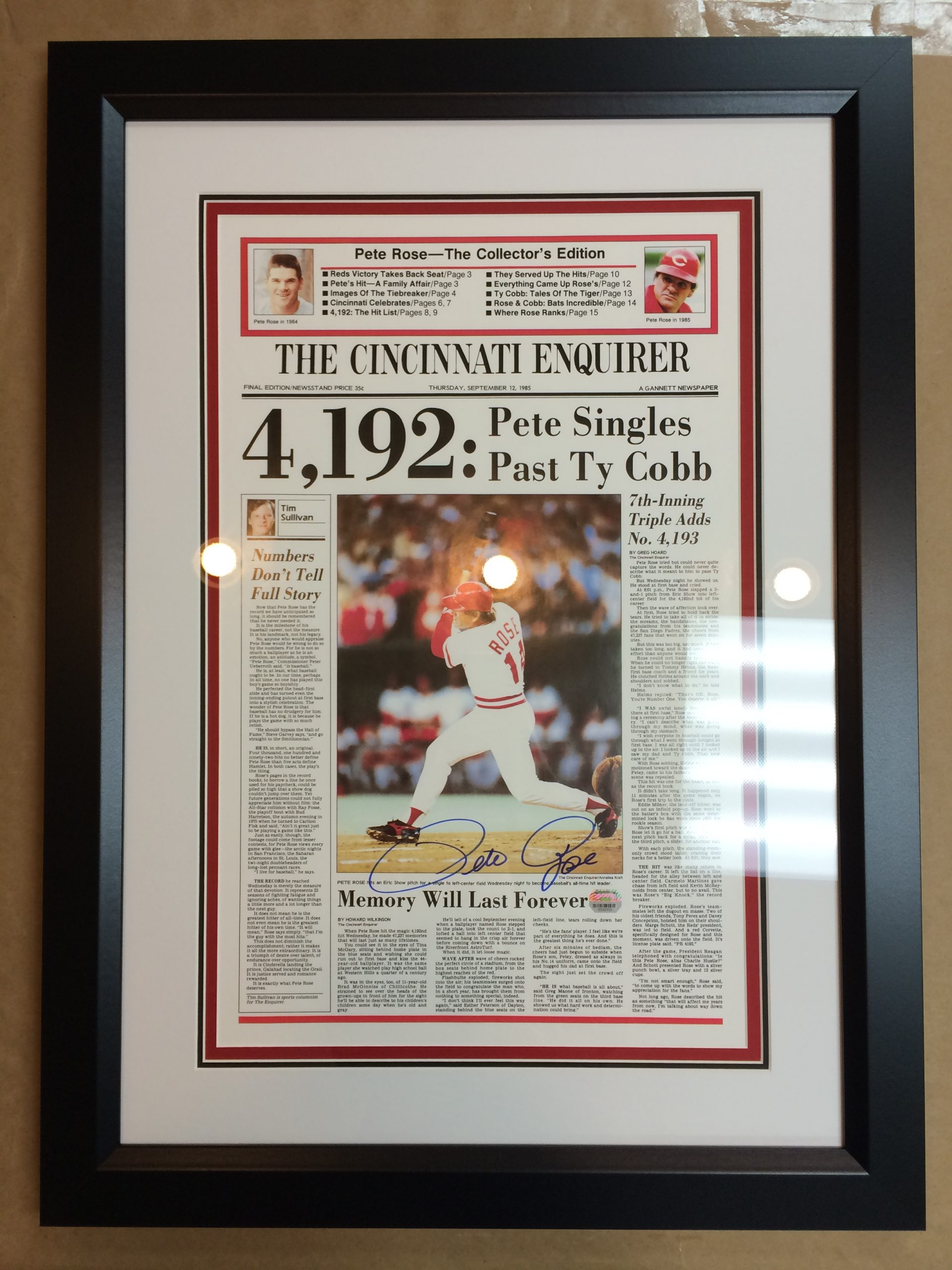 Framed Newspaper about Pete Rose