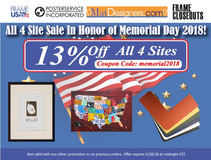 Memorial Day Sale 2018 – 13% Off Online Celebration
