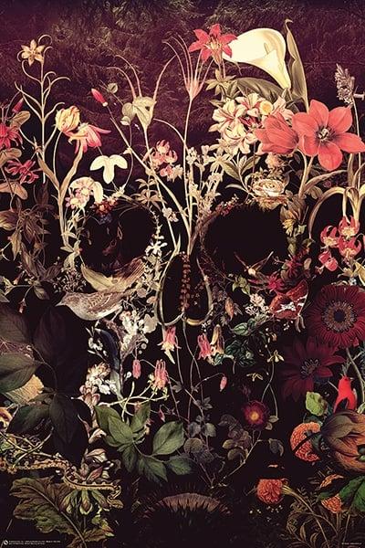 artist bloom skull poster