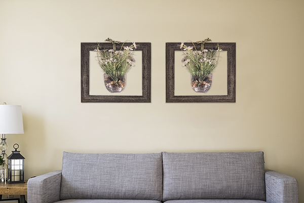 Farmhouse Barnwood Charcoal Frames Wild Flower Vases