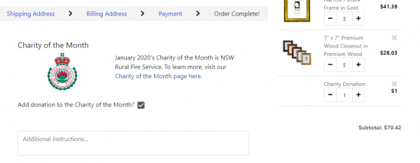Checkout Page Charity Donation