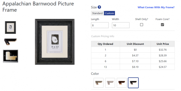 Custom picture frame options for all frames