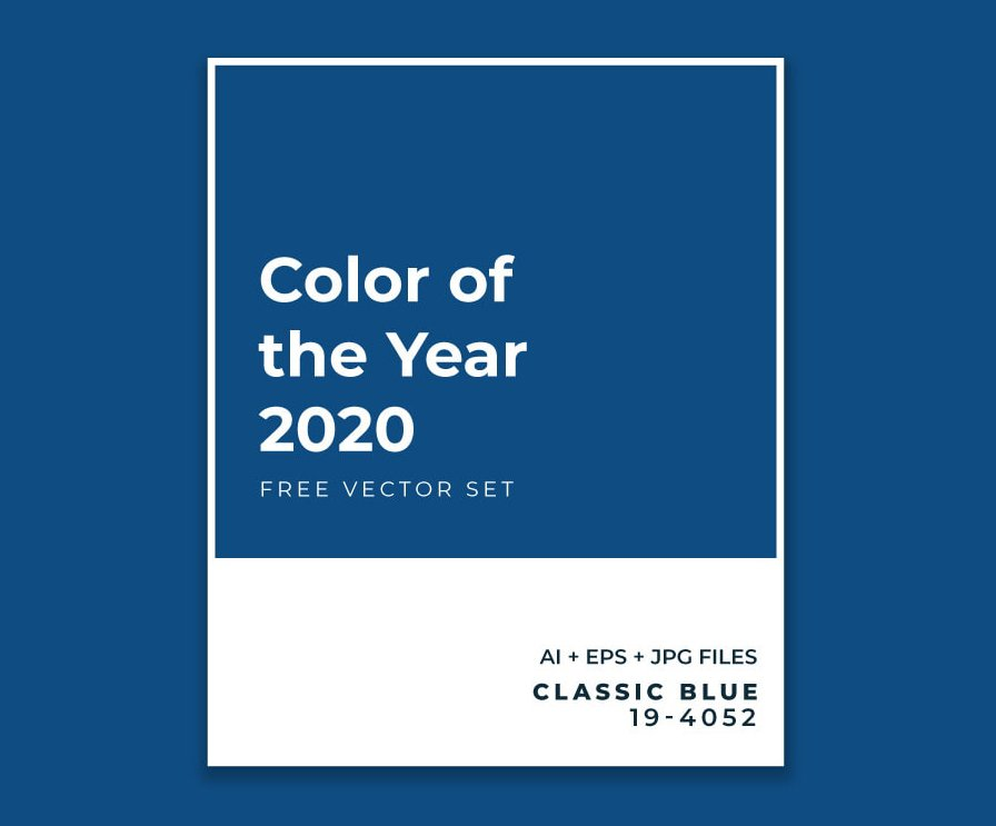 Pantone swatch of Classic Blue - 2020 Color of the year