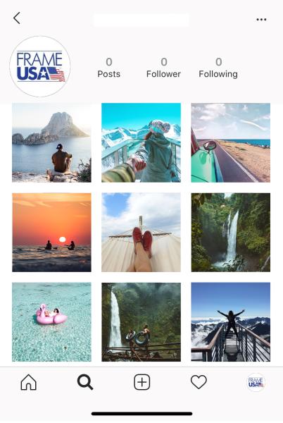Frame USA Instagram page mockup