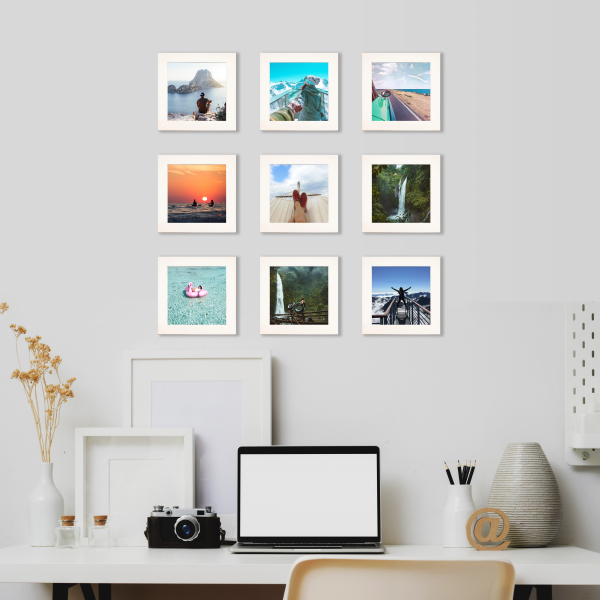 Instagram wall with square, white picture frames from Frame USA